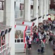 People at box office near entrance of Kursky railroad station — Stock Video