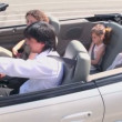 Family ride in cabriolet at sunny summer day, around motion — Stock Video #32344233