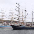 Stock Video: Dutch sailing vessel Thalassa comes into port of Stavanger