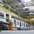 New wagons stand in workshop of plant Metrowagonmash — Video Stock