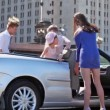 Students with kids take seat in cabriolet — Stock Video