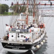 Stock Video: Sailing vessel Stavros S Niarchos floats in gulf of Stavanger