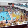 Panorama of spacious deck of ship with people have rest — Vidéo
