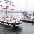 Stock Video: Sailingship Stavros S Niarchos moors to pier in port