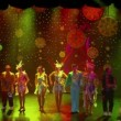Russian troupe of actors on farewell, drop-curtain at show end — Vidéo