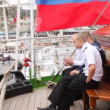 Russian seamen smoke on deck of windjammer Krusenstern — Stock Video