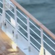 Light and fence with handrail on deck of ship — Vídeo Stock