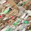 Stock Video: Pile of waste carton for recycling, closeup view in motion