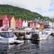 Stock Video: Quay in dock with boats at coastal Bergen town