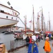 People walk in port of Stavanger on festival-regatta — Stock Video