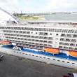 Panorama of huge multideck passenger liner standing in port — Stock Video