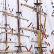 Masts of sailing ships stand with collected sails and flags — Stock Video