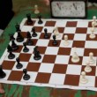 People play chess with time limit, closeup view of table — Stock Video