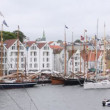 Many sailing boats stand on mooring in port of Stavanger — Stockvideo