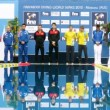 Athletes of man stand on pedestal on World FINA series — Stock Video #32349709