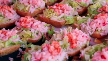 Many sandwiches with seafoods, closeup view in motion — Stock Video