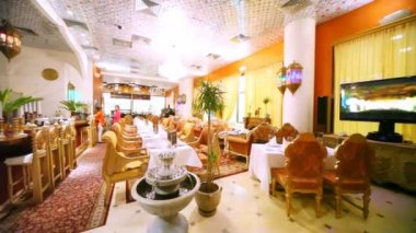 Interior of restaurant lounge is made in Indian style — Stock Video