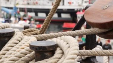 Rope for mooring lies collected on ship deck — Stock Video