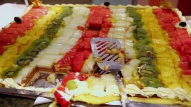 Lot of pieces of fruit cake, close up view in motion — Stock Video