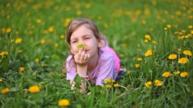 Girl smells dandelion on green lawn covered with flowers — Stock Video