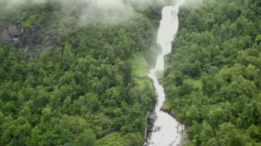 Waterfall and river among forest on mountain at shore of fiord — Stock Video