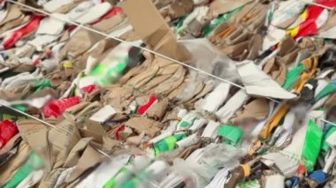 Pile of waste carton for recycling, closeup view in motion — Stock Video