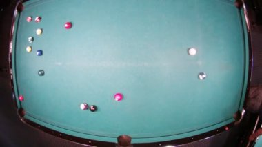 Father with son play, Billiard balls slide from blow by cue — ストックビデオ