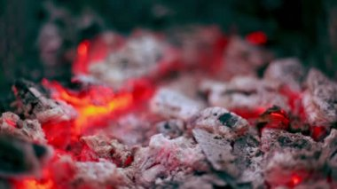 Flicker of smoldering coals lay in cinder, closeup view — Stock Video
