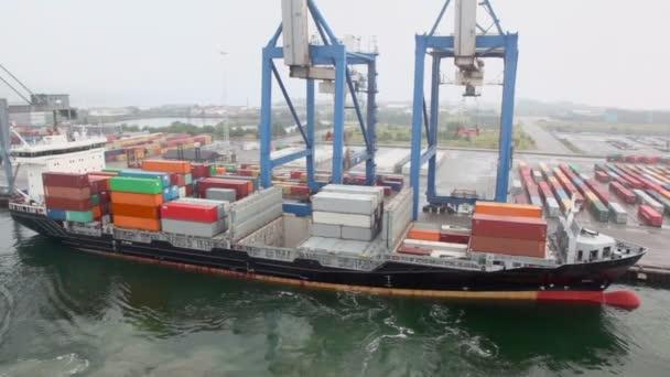 Grandes grues et bateau avec à bord des conteneurs dans le port de mer — Vidéo