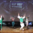 Show Master crew dances hip-hop on scene of palace of culture — Stock Video
