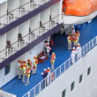 Saving training of personnel in jacket on board passenger liner — 图库视频影像