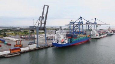 Embarkation of barges by huge cranes and reachstackers in dock — Stock Video