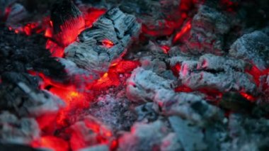 Flicker of smoldering embers lay in ashes, closeup view — Stock Video