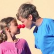 Stock Video: Two kids boy and little girl with clown noses play together