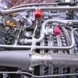 Engine of helicopter stands at exhibition of helicopter industry — Stock Video