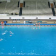Teams play waterpolo in pool of sports complex, time lapse — Stock Video