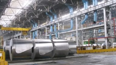 Rolls of aluminum lie in production workshop of plant — Stock Video