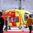 Helicopter of Ambulance stands on exhibition — Stock Video