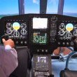 Pilot operates helicopter simulator on exhibition — Stock Video