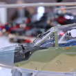 Miniature of military helicopter stands on exhibition. — Stock Video