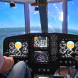 Pilot operates helicopter simulator during simulated flight — Stock Video