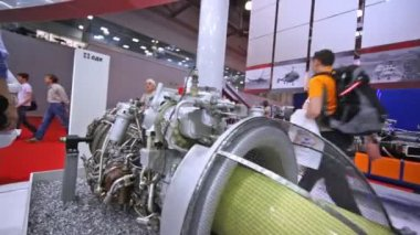 Engine of helicopter stands at International exhibition — Stock Video