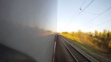 Family from four people is in compartment in train, time lapse — Vídeo de stock