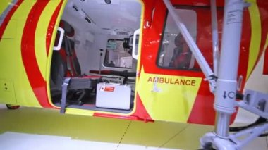 Helicopter of Ambulance stands on International exhibition — Stock Video