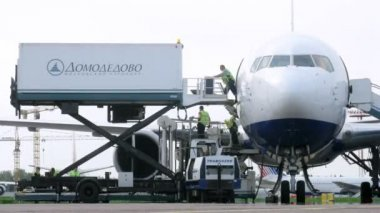Workers unload cargo from plane, on Domodedovo airport — Stock Video