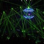DJ in laser beams — Stock Photo #7444273