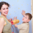 Mother and son repair room — Stock Photo #7447111