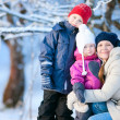 Family outdoors on a winter day — Stock Photo