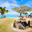 Public beach on Moorea island — Stock Photo