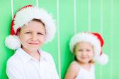 Cute boy in a Santa hat — Stock Photo